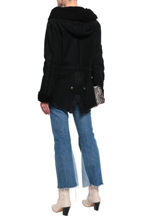 MR & MRS ITALY Shearling-trimmed suede coat