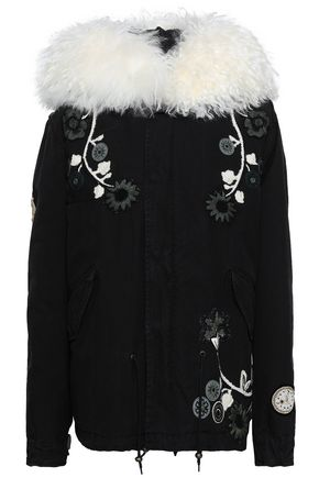 MR & MRS ITALY Shearling-trimmed embroidered cotton-canvas hooded coat