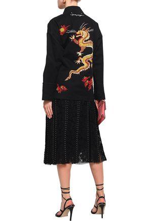 VALENTINO Embellished cutout denim jacket
