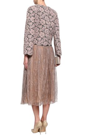 VALENTINO Layered corded lace and wool-blend jacket