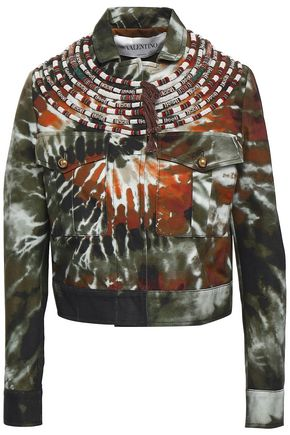 VALENTINO Embellished tie-dyed cotton-twill jacket