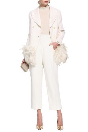 Valentino Jackets VALENTINO WOMAN DOUBLE-BREASTED FEATHER-TRIMMED WOOL-BLEND FELT JACKET OFF-WHITE