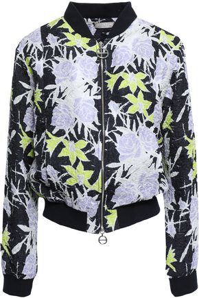 NINA RICCI Floral-print silk-blend cloqué bomber jacket