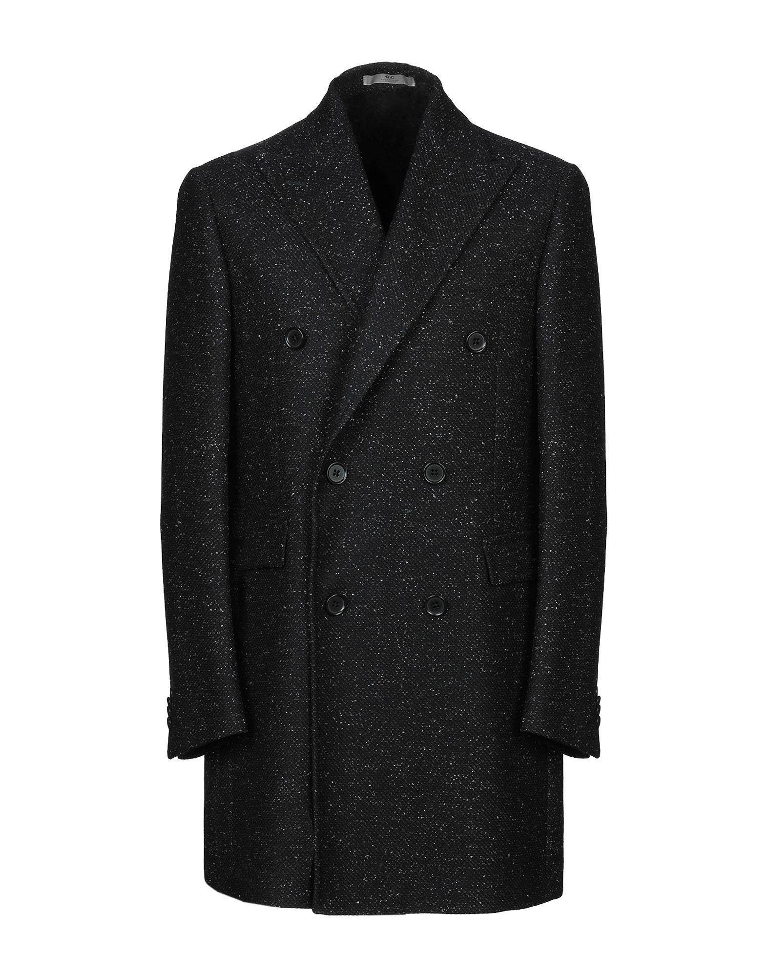 《セール開催中》CC COLLECTION CORNELIANI メンズ コート ブラック 50 バージンウール 60% / レーヨン 20% / ナイロン 10% / 麻 8% / カシミヤ 2%