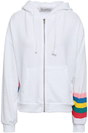 WILDFOX Striped cotton-blend terry hooded jacket