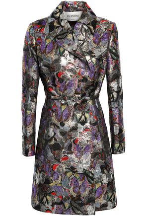 VALENTINO GARAVANI Double-breasted brocade trench coat