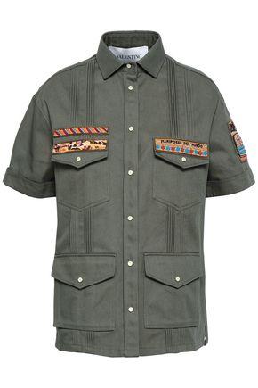 VALENTINO GARAVANI Pintucked appliquéd cotton-twill jacket