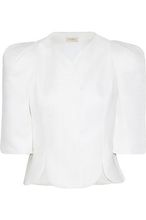 DELPOZO Cropped scalloped woven jacket