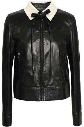 VALENTINO Satin-trimmed leather jacket