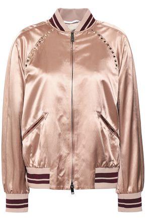VALENTINO Studded satin bomber jacket