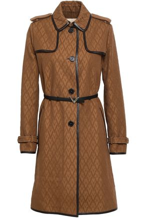 VALENTINO GARAVANI Leather-trimmed cotton-blend jacquard trench coat
