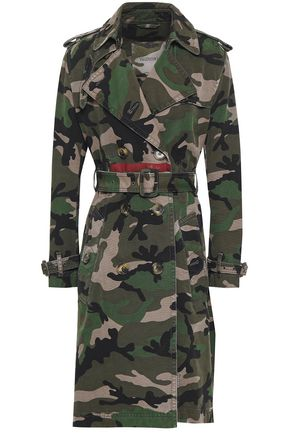 VALENTINO GARAVANI Belted printed cotton-canvas trench coat