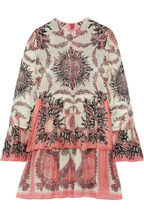 VALENTINO Tiered printed cotton-gauze mini dress