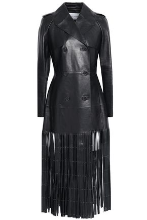 VALENTINO Studded fringed double-breasted leather trench coat