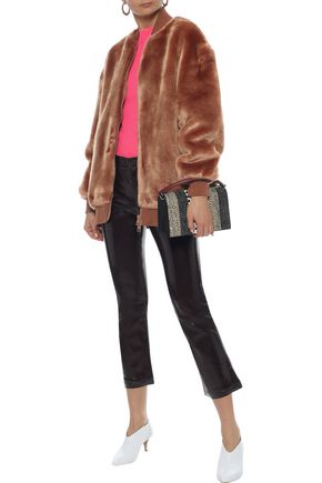TIBI Faux fur bomber jacket