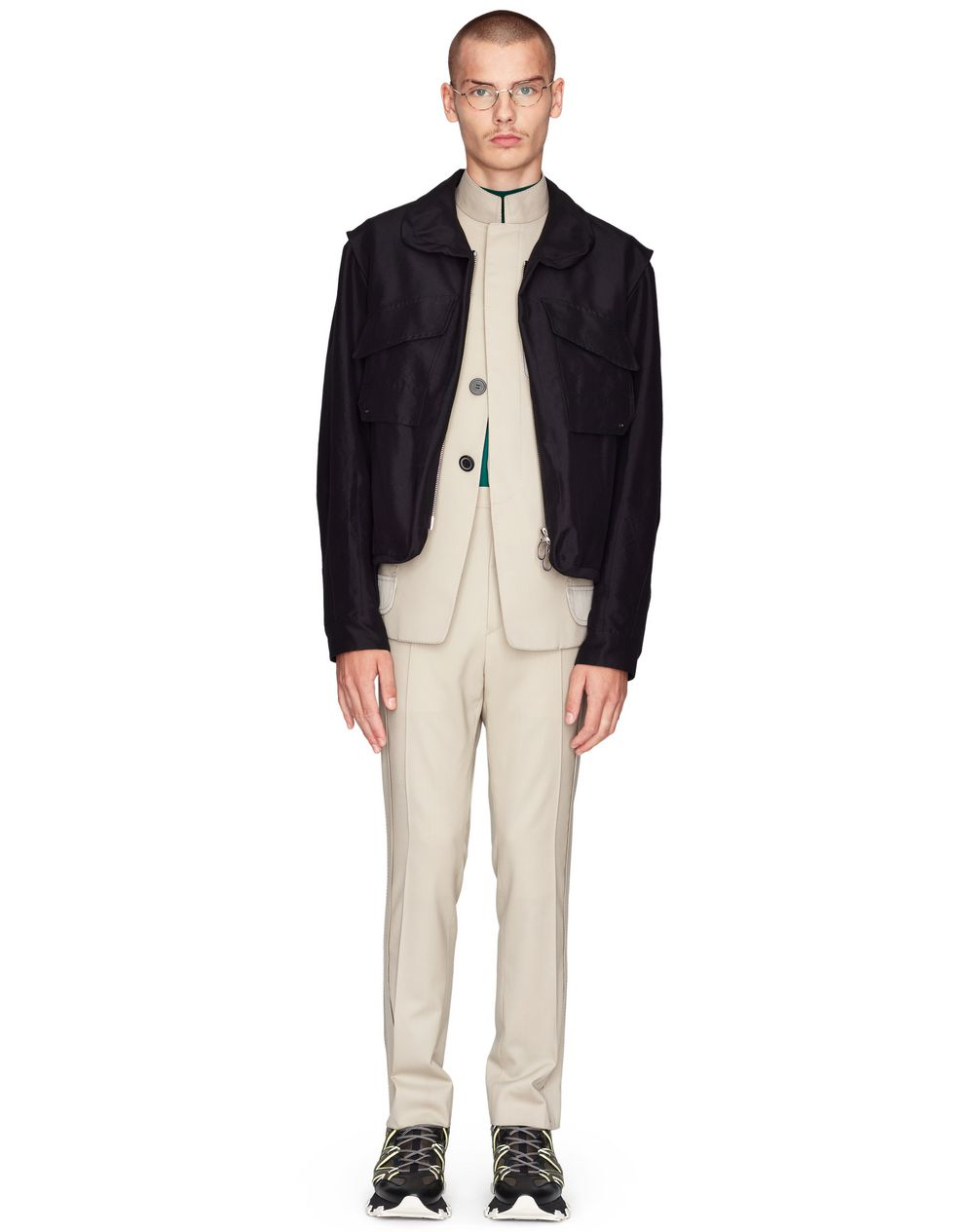 SHORT BLACK JACKET WITH LACING DETAILS    - Lanvin