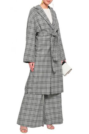 ZIMMERMANN Frayed checked wool jacket