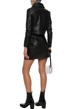 957d1bb03 Bollant cropped ruffle-trimmed leather biker jacket   MAJE   Sale up ...