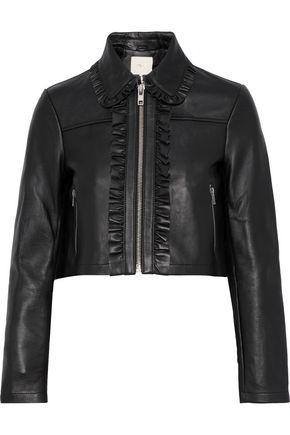 MAJE Bollant cropped ruffle-trimmed leather biker jacket