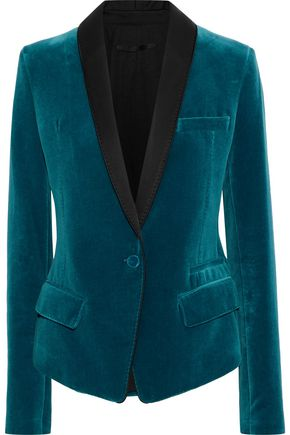 HAIDER ACKERMANN Satin-trimmed cotton-velvet blazer