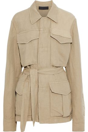 HAIDER ACKERMANN Belted cotton and linen-blend jacket