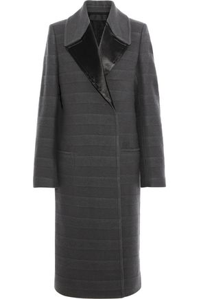 HAIDER ACKERMANN Satin-trimmed striped wool-blend felt coat