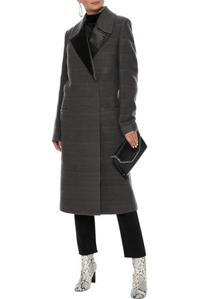 HAIDER ACKERMANN Satin-trimmed striped wool-blend felt coat