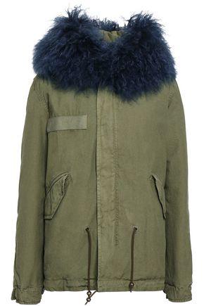 MR & MRS ITALY Shearling-trimmed cotton-blend gabardine hooded coat