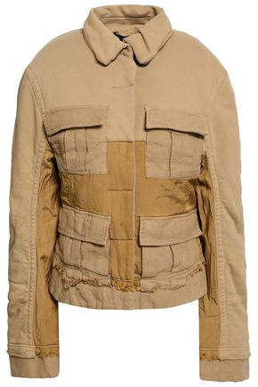 HAIDER ACKERMANN Frayed cotton-twill and canvas jacket