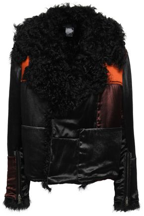 HAIDER ACKERMANN Shearling-trimmed patchwork satin bomber jacket