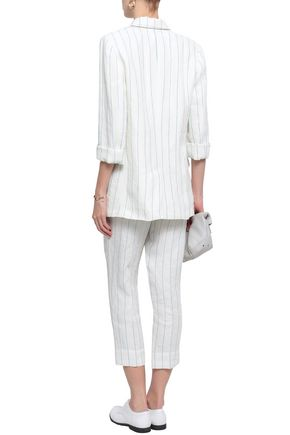 BRUNELLO CUCINELLI Embellished pinstriped linen blazer