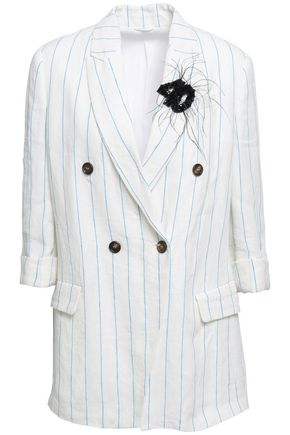 BRUNELLO CUCINELLI Double-breasted embellished pinstriped linen blazer