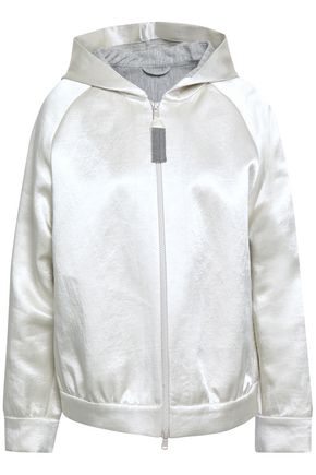 BRUNELLO CUCINELLI Linen-blend satin hooded jacket
