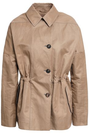 BRUNELLO CUCINELLI Stretch-knit paneled cotton-blend gabardine trench coat