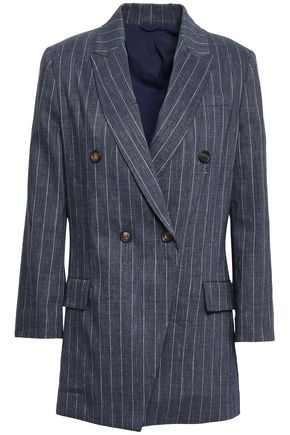 BRUNELLO CUCINELLI Double-breasted pinstriped linen-blend blazer