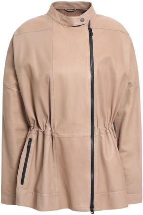 BRUNELLO CUCINELLI Ribbed knit-paneled leather peplum jacket
