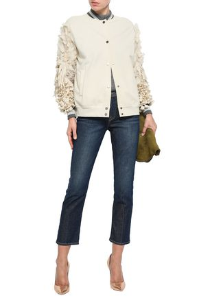 BRUNELLO CUCINELLI Appliquéd French cotton-blend terry bomber jacket