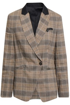 BRUNELLO CUCINELLI Checked linen-blend blazer