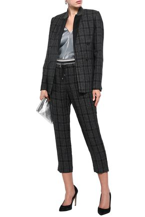 BRUNELLO CUCINELLI Bead-embellished checked linen-jacquard blazer