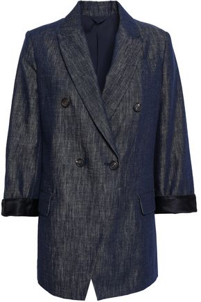 BRUNELLO CUCINELLI Double-breasted cotton-chambray blazer