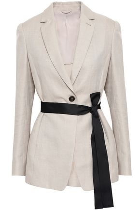 BRUNELLO CUCINELLI Herringbone cotton and linen-blend blazer