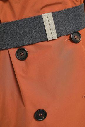 BRUNELLO CUCINELLI Double-breasted belted gabardine coat