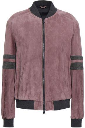 BRUNELLO CUCINELLI Embellished suede bomber jacket