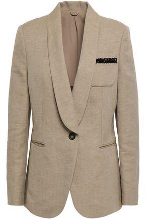 BRUNELLO CUCINELLI Embellished herringbone cotton and linen-blend blazer