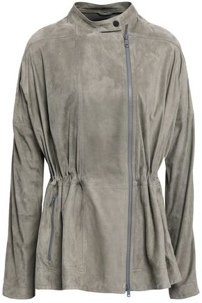 BRUNELLO CUCINELLI Bead-embellished gathered suede jacket