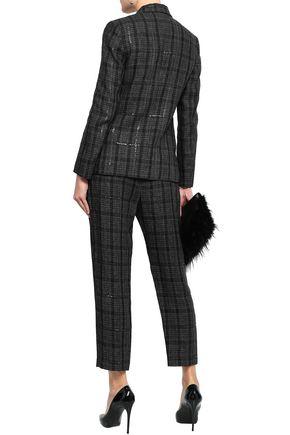 BRUNELLO CUCINELLI Satin-trimmed embellished checked linen blazer