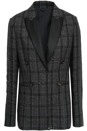 BRUNELLO CUCINELLI Satin-trimmed embellished checked linen blazer
