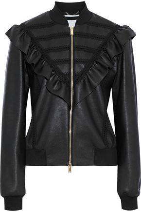 STELLA McCARTNEY Macie lace-trimmed ruffled faux leather bomber jacket
