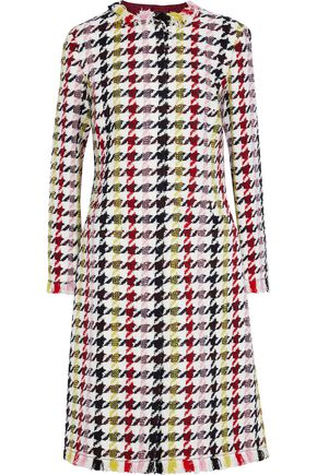 OSCAR DE LA RENTA Houndstooth wool-blend tweed coat