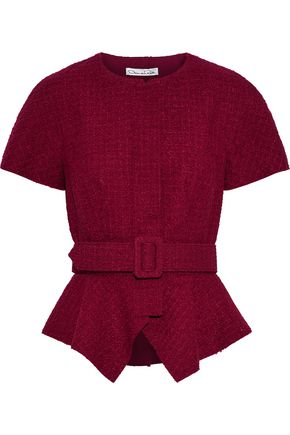 OSCAR DE LA RENTA Belted wool-blend tweed peplum top
